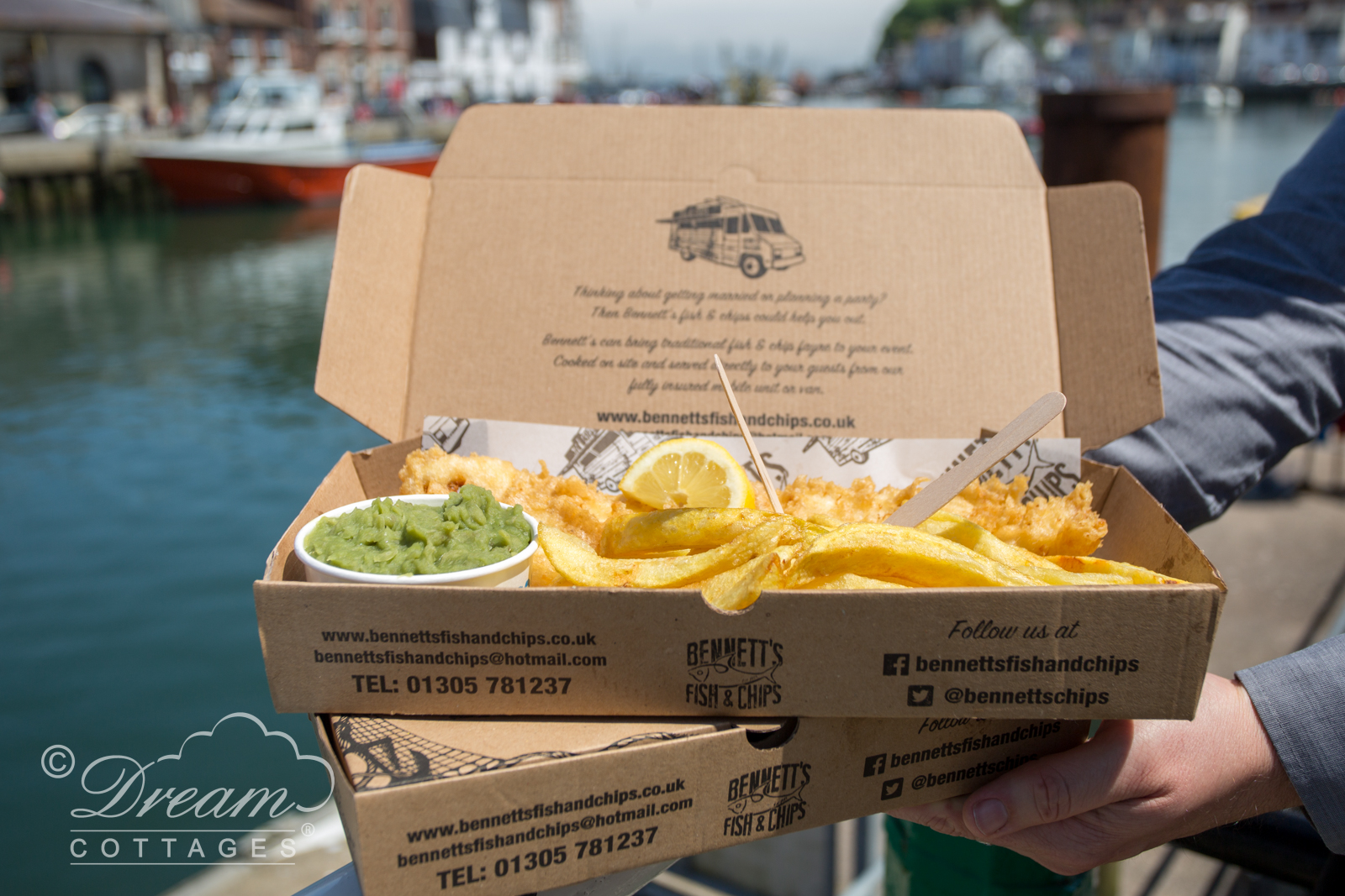 Fish and Chips on Weymouth Harbour, Dorset