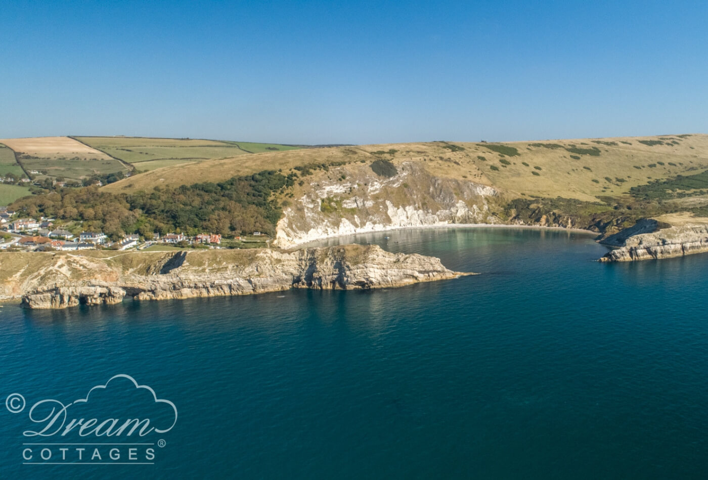 Romantic places in Dorset Lulworth Cove - photo taken with a drone