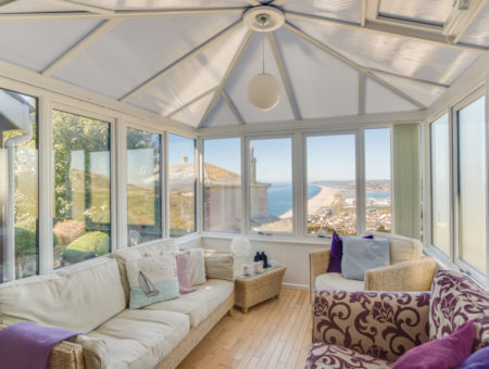 Pitt Hayes conservatory with views over Chesil beach