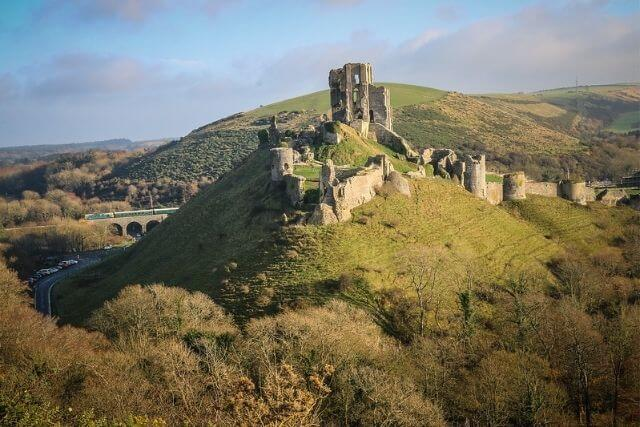 Corfe Castle, situated in Purbeck, Dorset