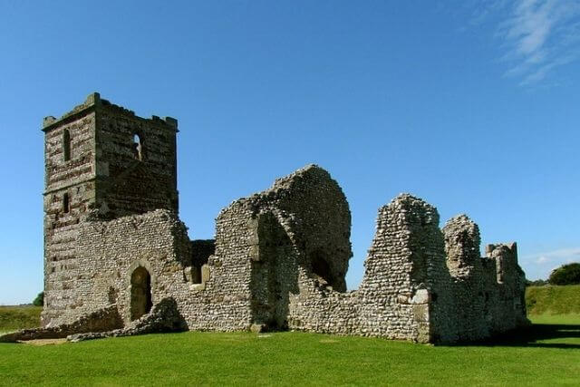 Knowlton Church with blue skies in the background