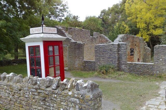 Tyneham Ghost Village ruins of building