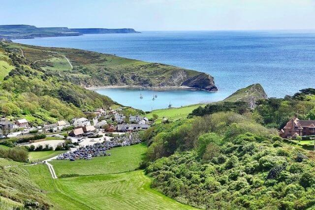View of Lulworth Cove and the Jurassic Coast