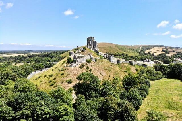 Corfe Castle and the Purbeck Hills