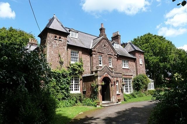 The fron of Max Hill, a victorian manor house and National Trust property in Dorset
