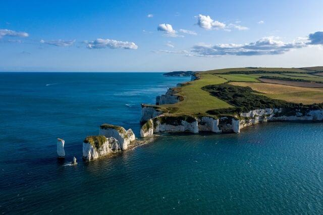 Arial view of Old Harry Rocks and the white cliffs of the Jurassic Coast