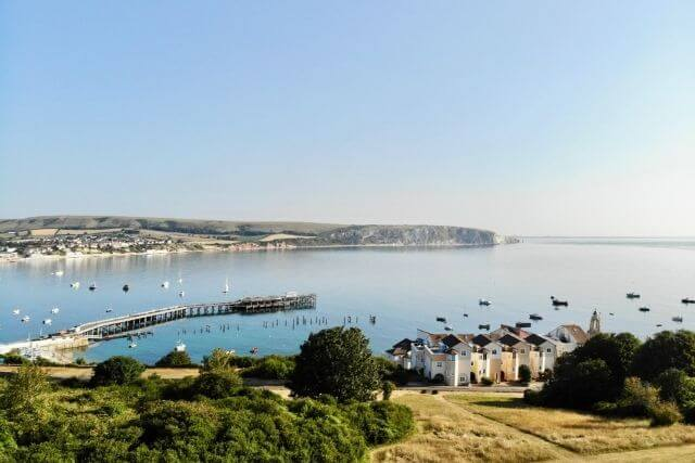 View of swanage houses and swanage bay