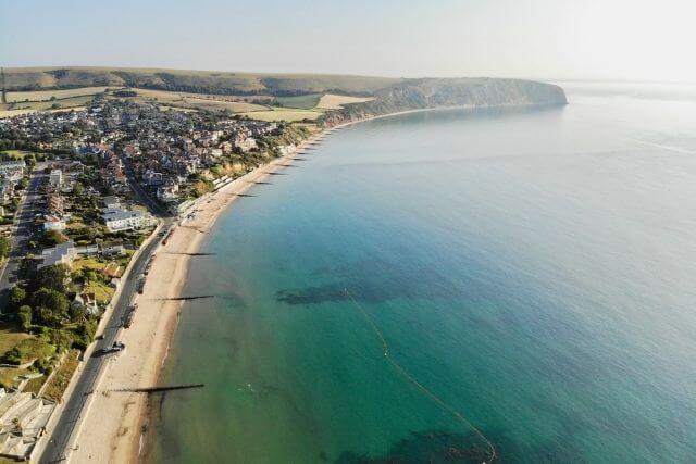 Arial shot of Swanage Beach